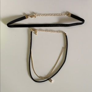 H&M black and gold choker necklaces set of 2